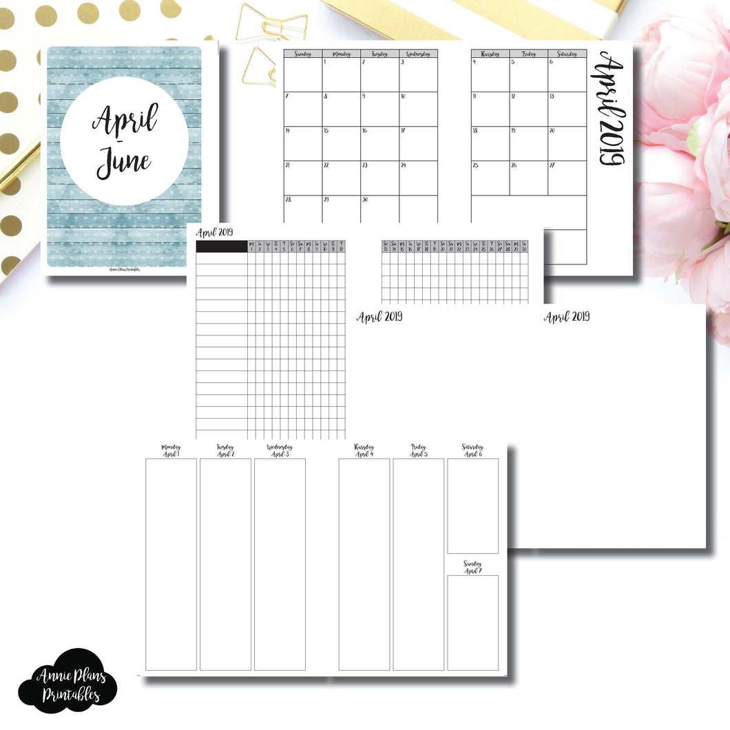 B6 Rings Size | APR - JUN  2019 | Vertical Week on 2 Page (Monday Start) Printable Insert ©