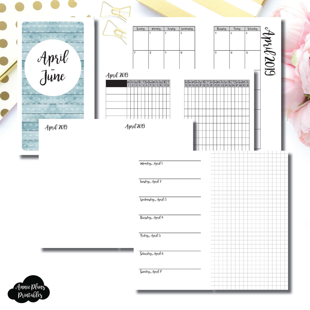 Personal Rings Size | APR - JUN 2019 | Horizontal Week on 1 Page + GRID (Monday Start) Printable Insert ©