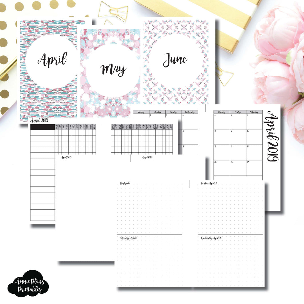 Personal Wide Rings Size | APR - JUN 2019 | Week on 4 Pages (Monday Start) Horizontal Layout | Printable Insert ©