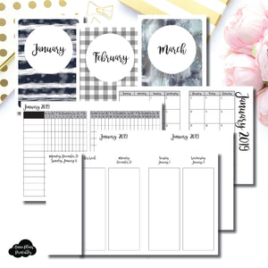 Passport TN Size | JAN - MAR 2019 | Week on 4 Pages (Monday Start) Vertical Layout | Printable Insert ©