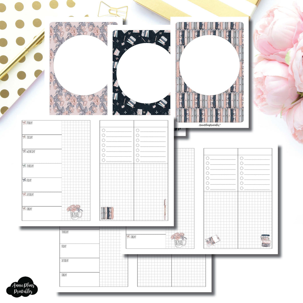 A6 TN Size | Undated Week on 2 Page Collaboration Printable Insert ©