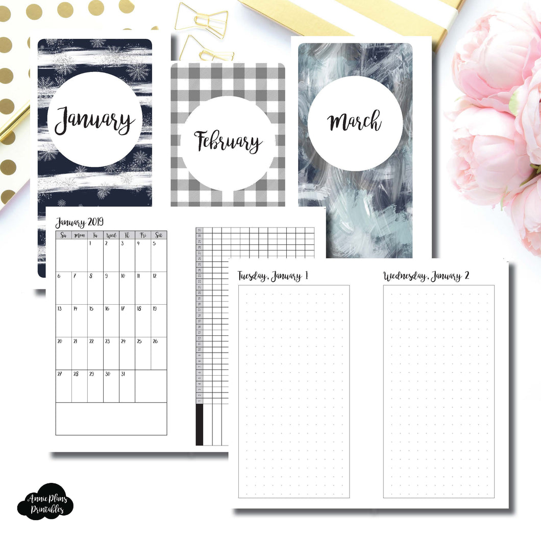 Personal Rings Size | 2019 JAN - MAR | FULL Month Daily (DOT GRID) | Printable Insert ©