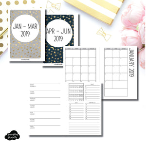 A6 Rings Size | JAN - MAR & APR - JUN 2019 | Week on 1 Page (Monday Week Start) With Trackers + Lists Printable Insert ©