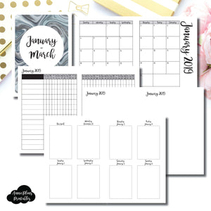 A6 TN Size | JAN - MAR 2019 | Vertical Week on 2 Page (Monday Start) Printable Insert ©