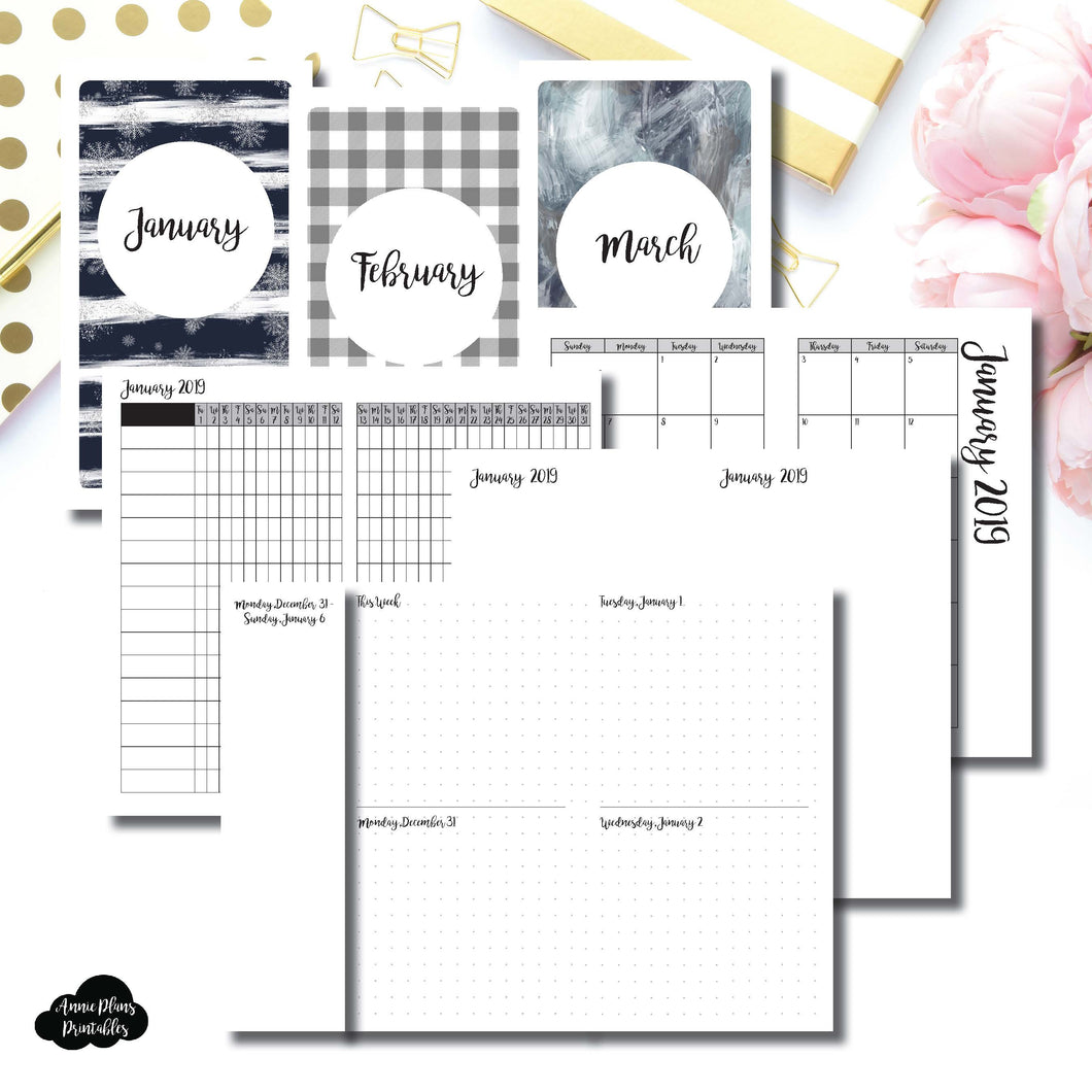 Personal Rings Size | JAN - MAR 2019 | Week on 4 Pages (Monday Start) Horizontal Layout | Printable Insert ©