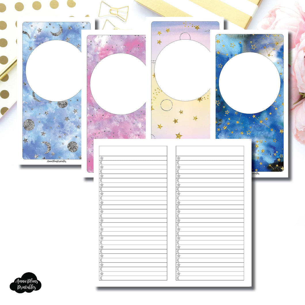 Standard TN SIZE | Blank Covers + Celestial Lists Printable Insert ©