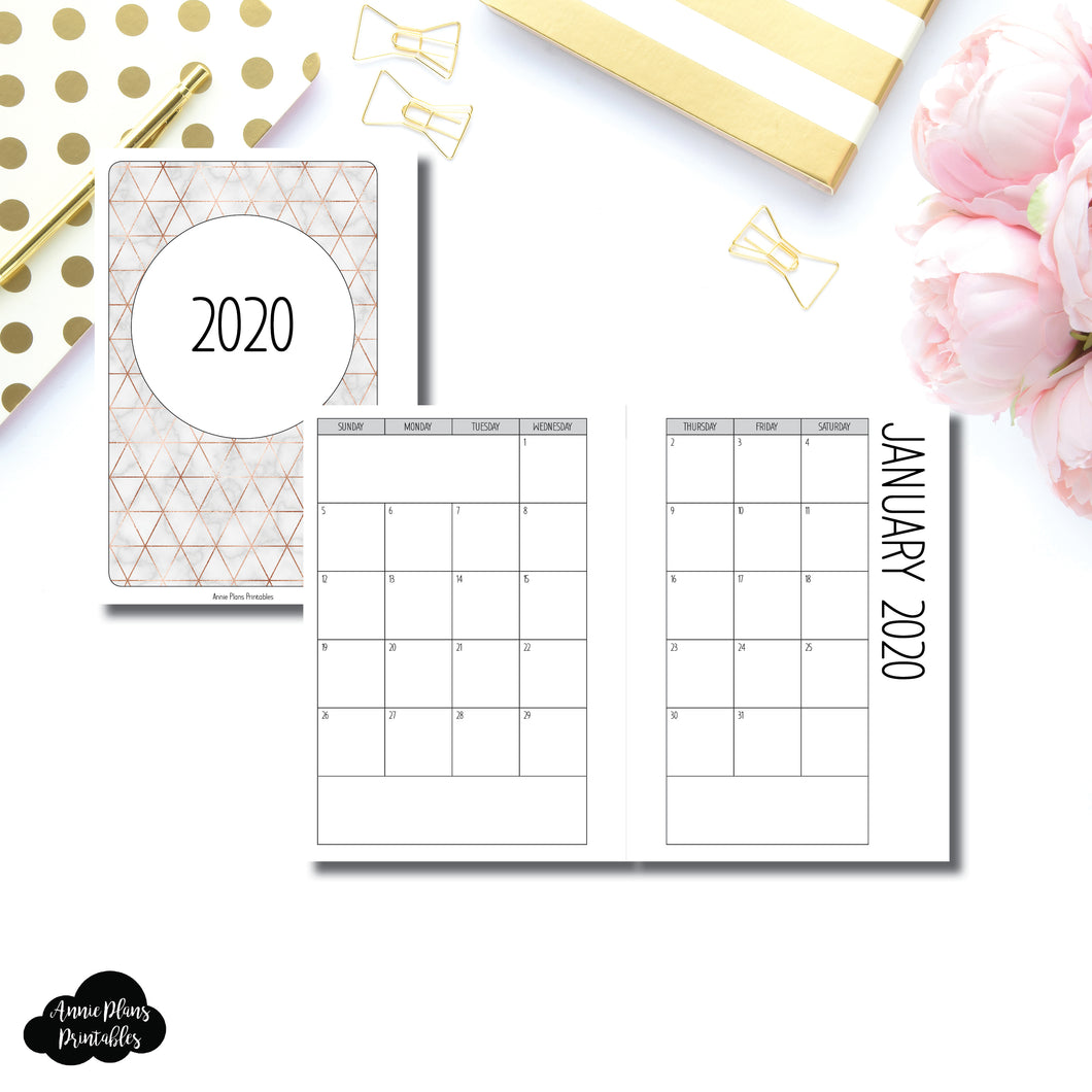 HWeeks Wide Size | 2020 SIMPLE FONT Monthly Calendar (SUNDAY Start) PRINTABLE INSERT ©