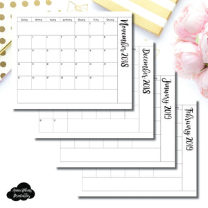 Half Letter Rings Size | 2019 Single Fold Over Monthly Calendar Printable Insert ©