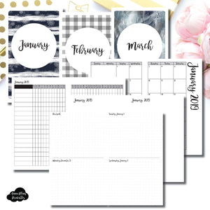 Cahier TN Size | JAN - MAR 2019 | Week on 4 Pages (Monday Start) Horizontal Layout | Printable Insert ©