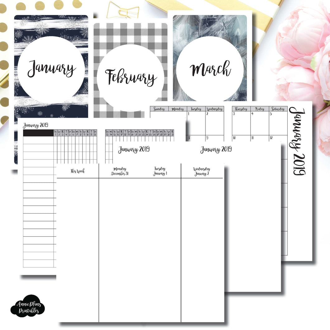 Standard TN Size | JAN - MAR 2019 | Week on 4 Pages (Monday Start) Vertical Layout | Printable Insert ©