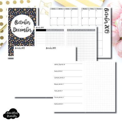 Half Letter Rings Size | OCT - DEC 2019 | Horizontal Week on 1 Page + GRID (Monday Start) Printable Insert ©