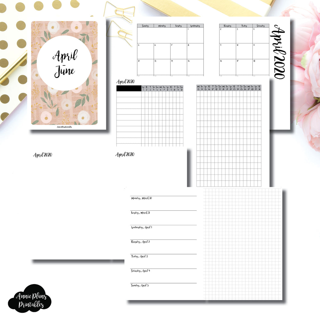Personal Wide Rings Size | APR - JUN 2020 | Horizontal Week on 1 Page + GRID (Monday Start) Printable Insert ©