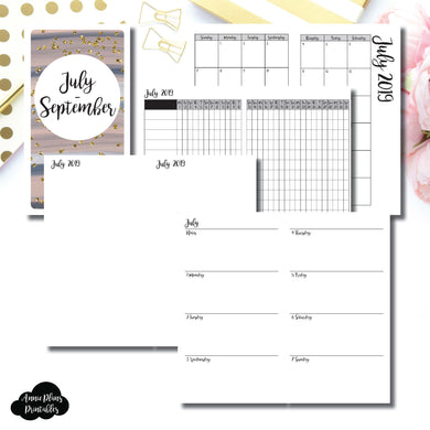 Personal TN Size | JUL - SEP 2019 | Week on 2 Page (Monday Start) Horizontal Layout | Printable Insert ©
