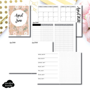 A6 TN Size | APR - JUN 2020 | Horizontal Week on 1 Page + GRID (Monday Start) Printable Insert ©