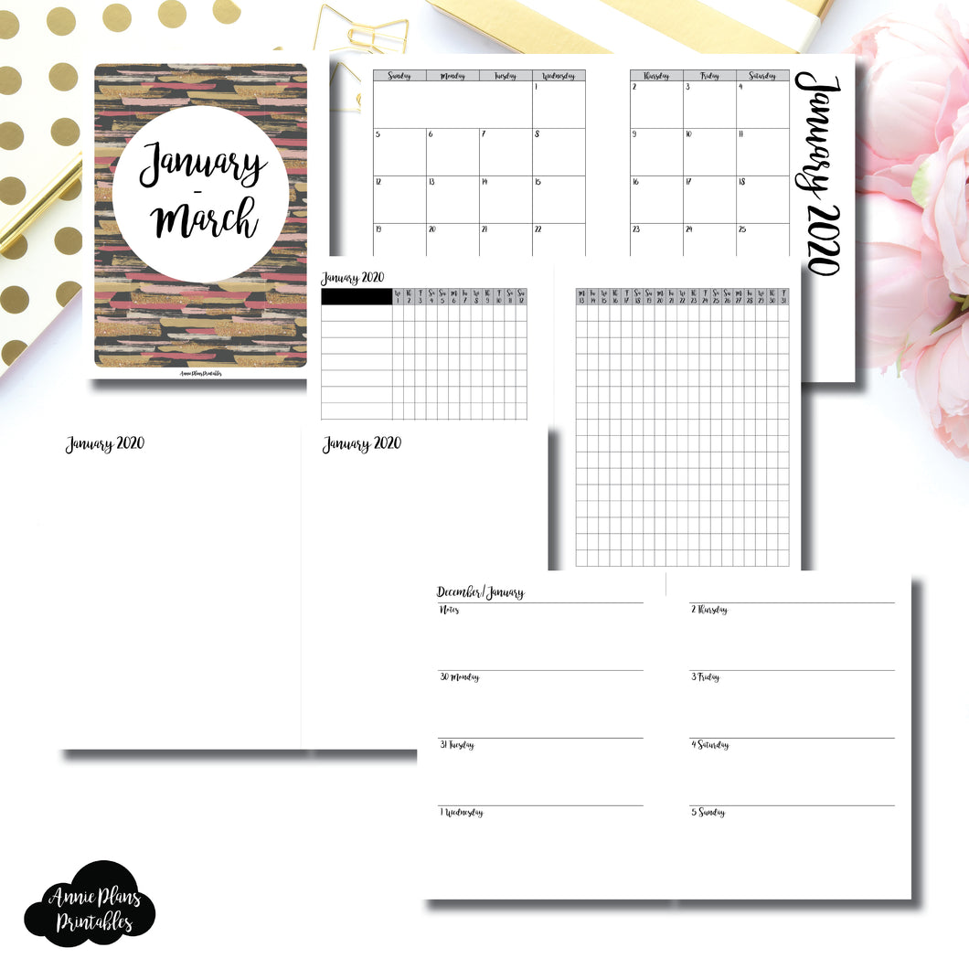 B6 RINGS Size | JAN - MAR 2020 | Week on 2 Page (Monday Start) Horizontal Layout | Printable Insert ©