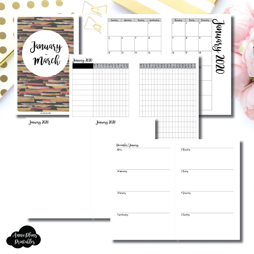 Half Letter Rings Size | JAN  - MAR 2020 | Week on 2 Page (Monday Start) Horizontal Layout | Printable Insert ©