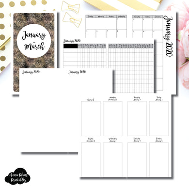 Personal TN Size | JAN - MAR 2020 | Vertical Week on 2 Page (Monday Start) Printable Insert ©