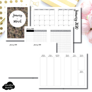 A5 Rings Size | JAN - MAR  2020 | Vertical Week on 2 Page (Monday Start) Printable Insert ©