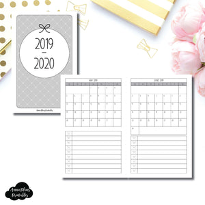 Pocket TN Size | 2019 - 2020 Single Page Monthly Printable Insert ©