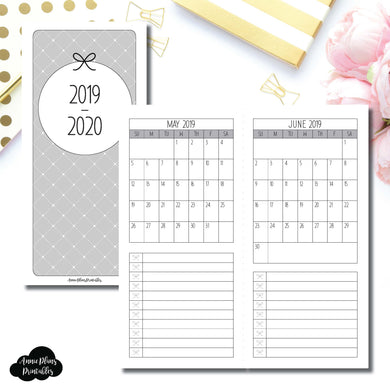 H Weeks Size | 2019 - 2020 Single Page Monthly Printable Insert ©