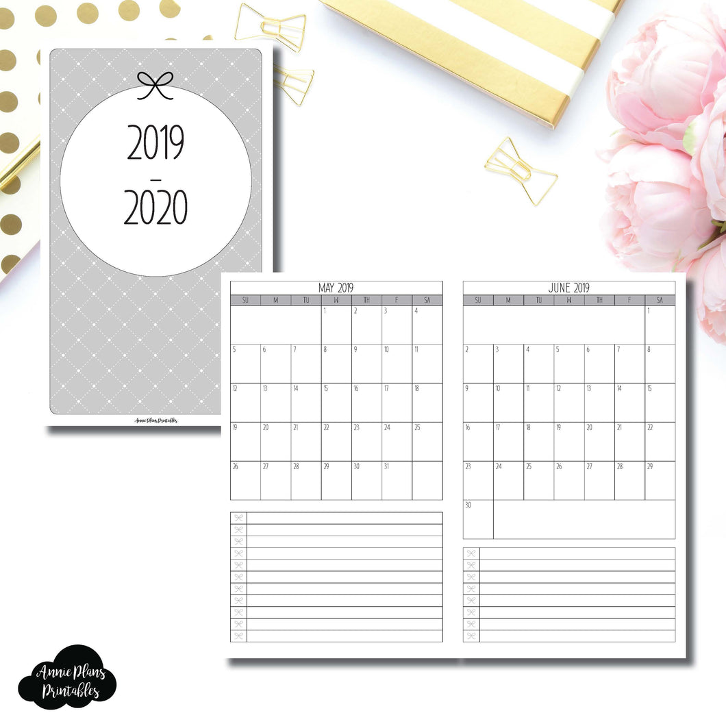 Half Letter Rings Size | 2019 - 2020 Single Page Monthly Printable Insert ©