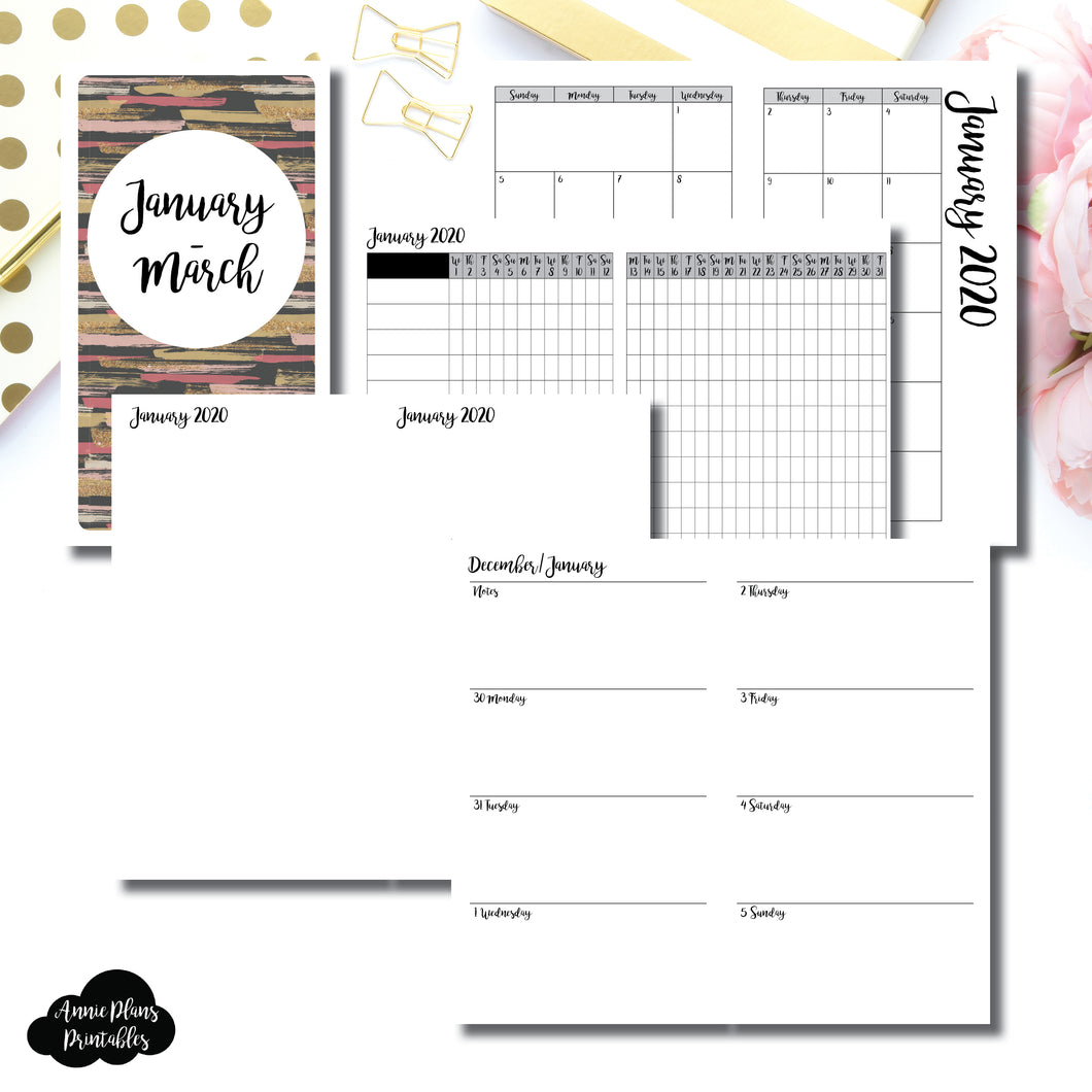 Personal TN Size | JAN  - MAR 2020 | Week on 2 Page (Monday Start) Horizontal Layout | Printable Insert ©
