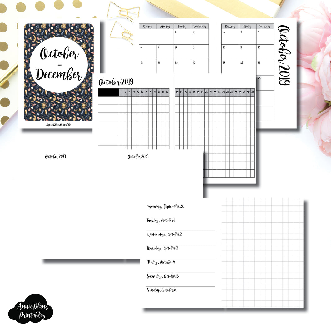 MICRO TN Size | OCT - DEC 2019 | Horizontal Week on 1 Page + GRID (Monday Start) Printable Insert ©