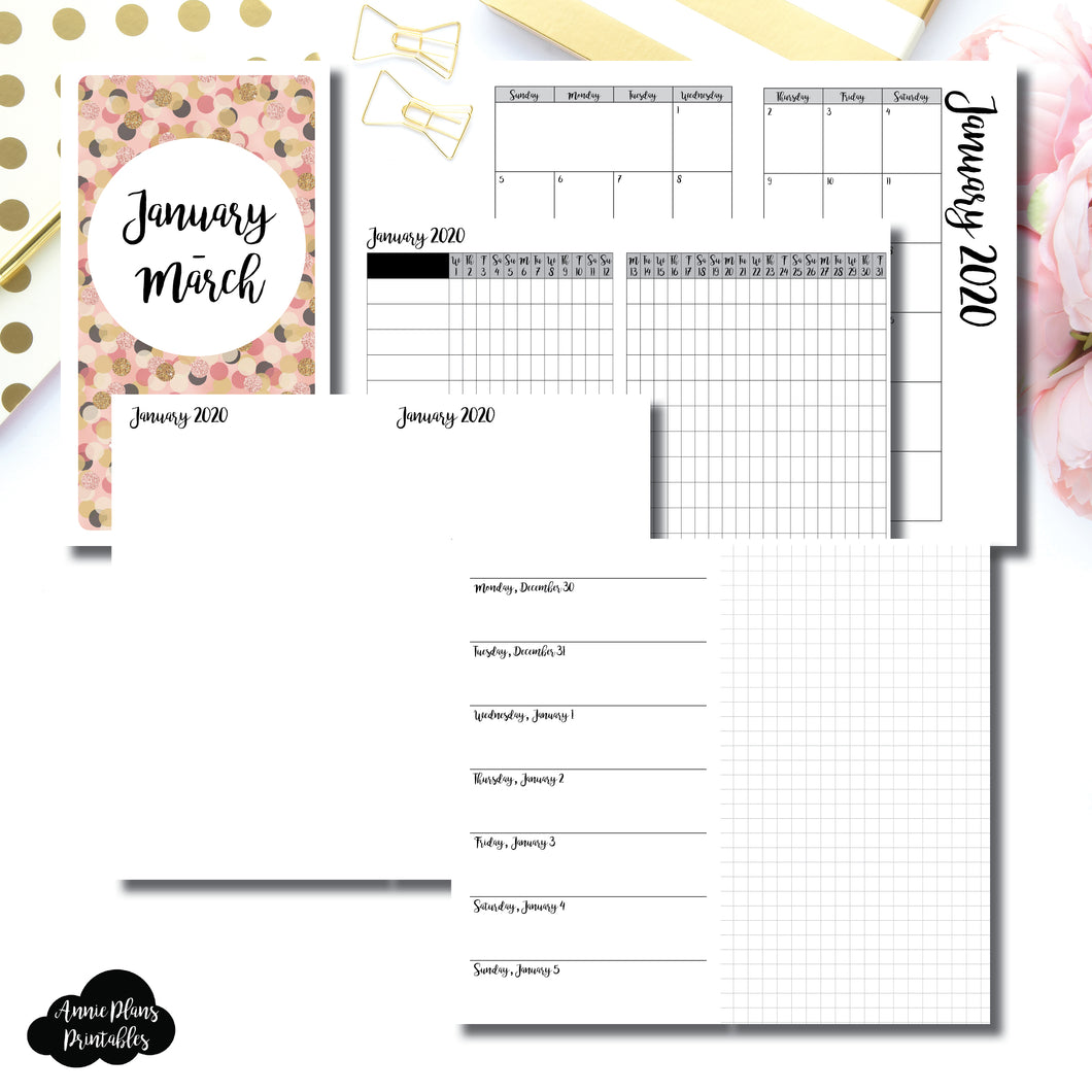 Personal TN Size | JAN - MAR 2020 | Horizontal Week on 1 Page + GRID (Monday Start) Printable Insert ©