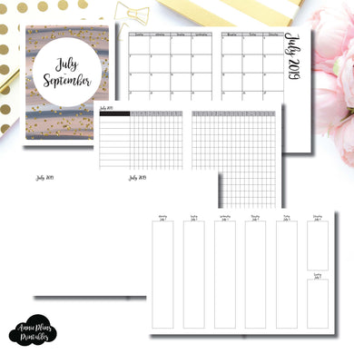Classic HP Size | JUL - SEP  2019 | Vertical Week on 2 Page (Monday Start) Printable Insert ©