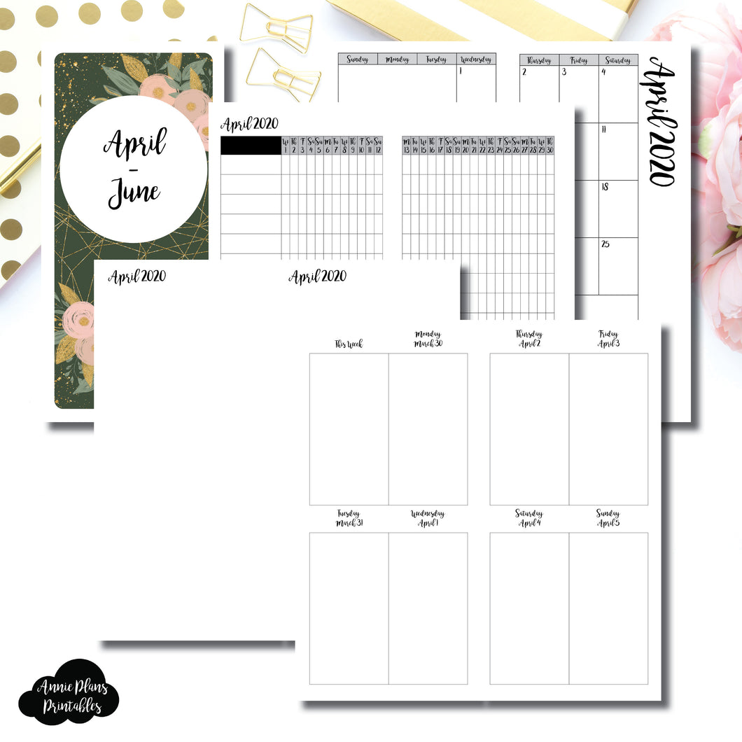 HWeeks Wide Size | APR - JUN 2020 | Vertical Week on 2 Page (Monday Start) Printable Insert ©