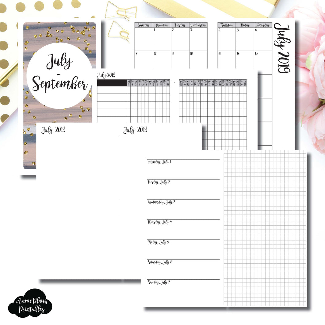 Standard TN Size | JUL - SEP 2019 | Horizontal Week on 1 Page + GRID (Monday Start) Printable Insert ©