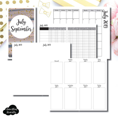 Personal TN Size | JUL - SEP  2019 | Vertical Week on 2 Page (Monday Start) Printable Insert ©