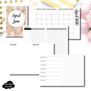 B6 TN Size | APR - JUN 2020 | Horizontal Week on 1 Page + GRID (Monday Start) Printable Insert ©