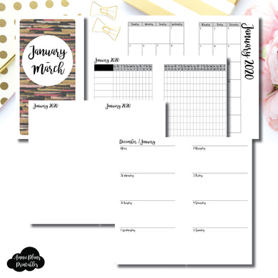 Personal Rings Size | JAN  - MAR 2020 | Week on 2 Page (Monday Start) Horizontal Layout | Printable Insert ©