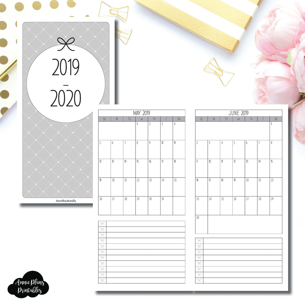 Standard TN Size | 2019 - 2020 Single Page Monthly Printable Insert ©