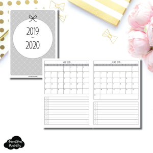 B6 TN Size | 2019 - 2020 Single Page Monthly Printable Insert ©