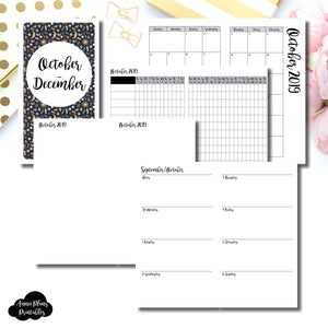 PERSONAL TN Size | OCT - DEC 2019 | Week on 2 Page (Monday Start) Horizontal Layout | Printable Insert ©