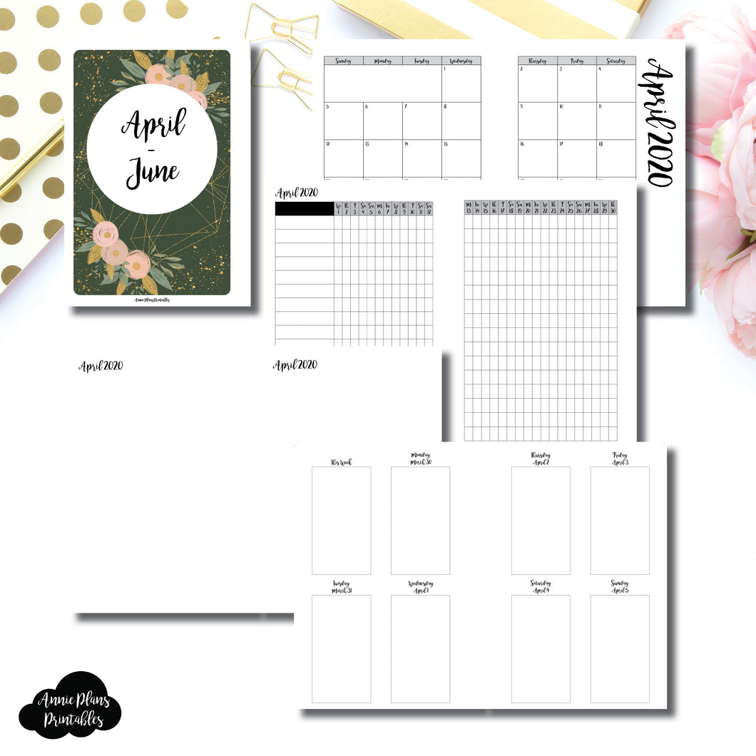 Personal Wide Rings Size | APR - JUN 2020 | Vertical Week on 2 Page (Monday Start) Printable Insert ©