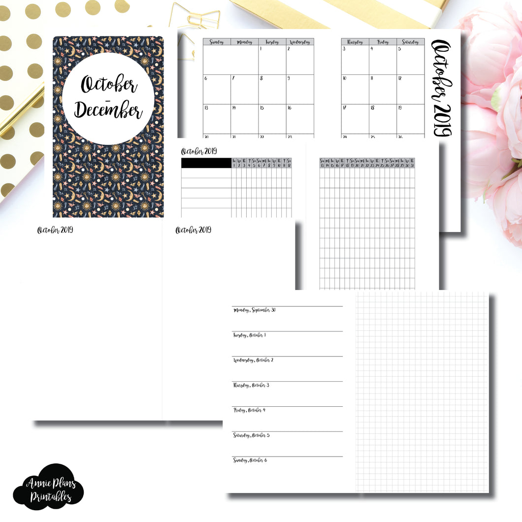 MINI HP Size | OCT - DEC 2019 | Horizontal Week on 1 Page + GRID (Monday Start) Printable Insert ©