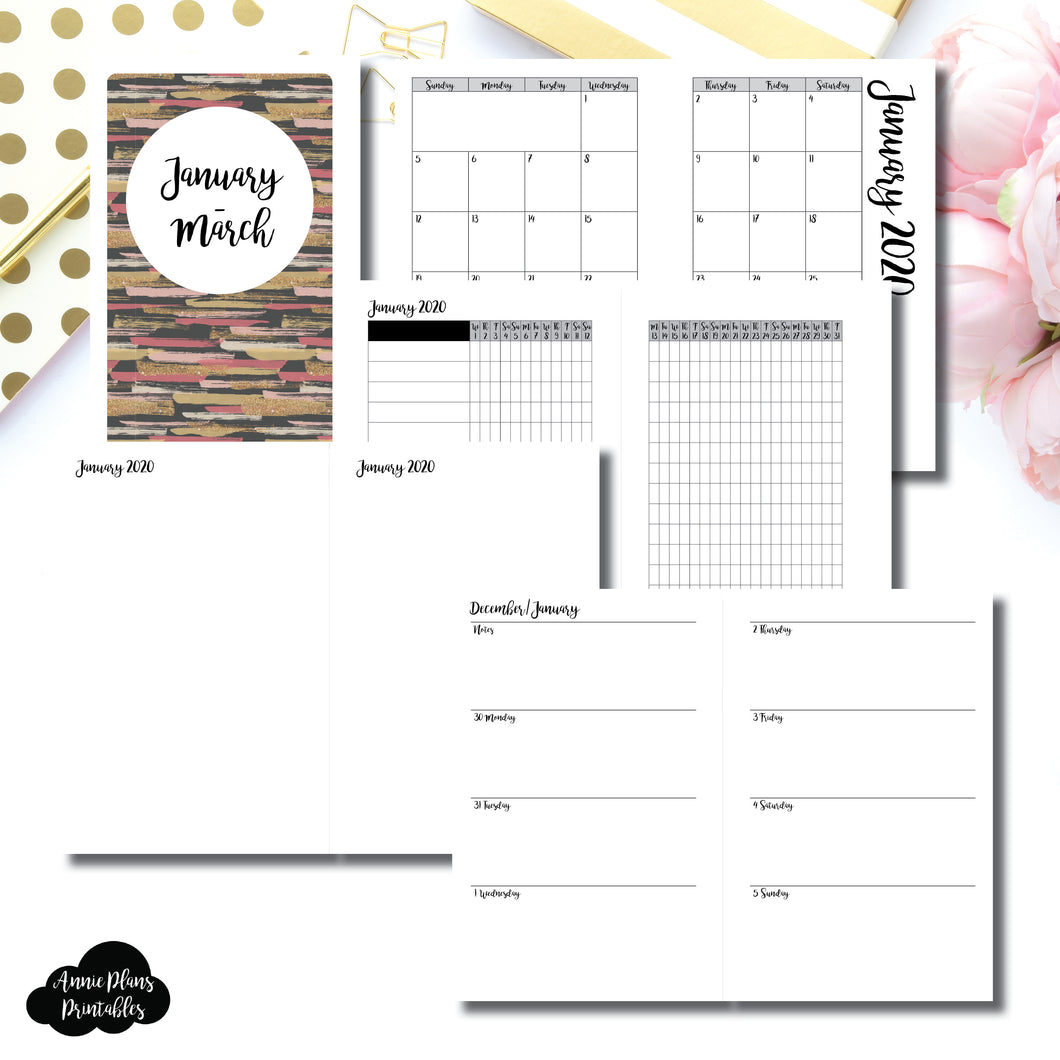 Mini HP Size | JAN  - MAR 2020 | Week on 2 Page (Monday Start) Horizontal Layout | Printable Insert ©