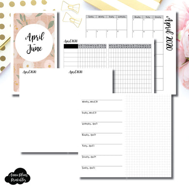 Personal TN Size | APR - JUN 2020 | Horizontal Week on 1 Page + GRID (Monday Start) Printable Insert ©