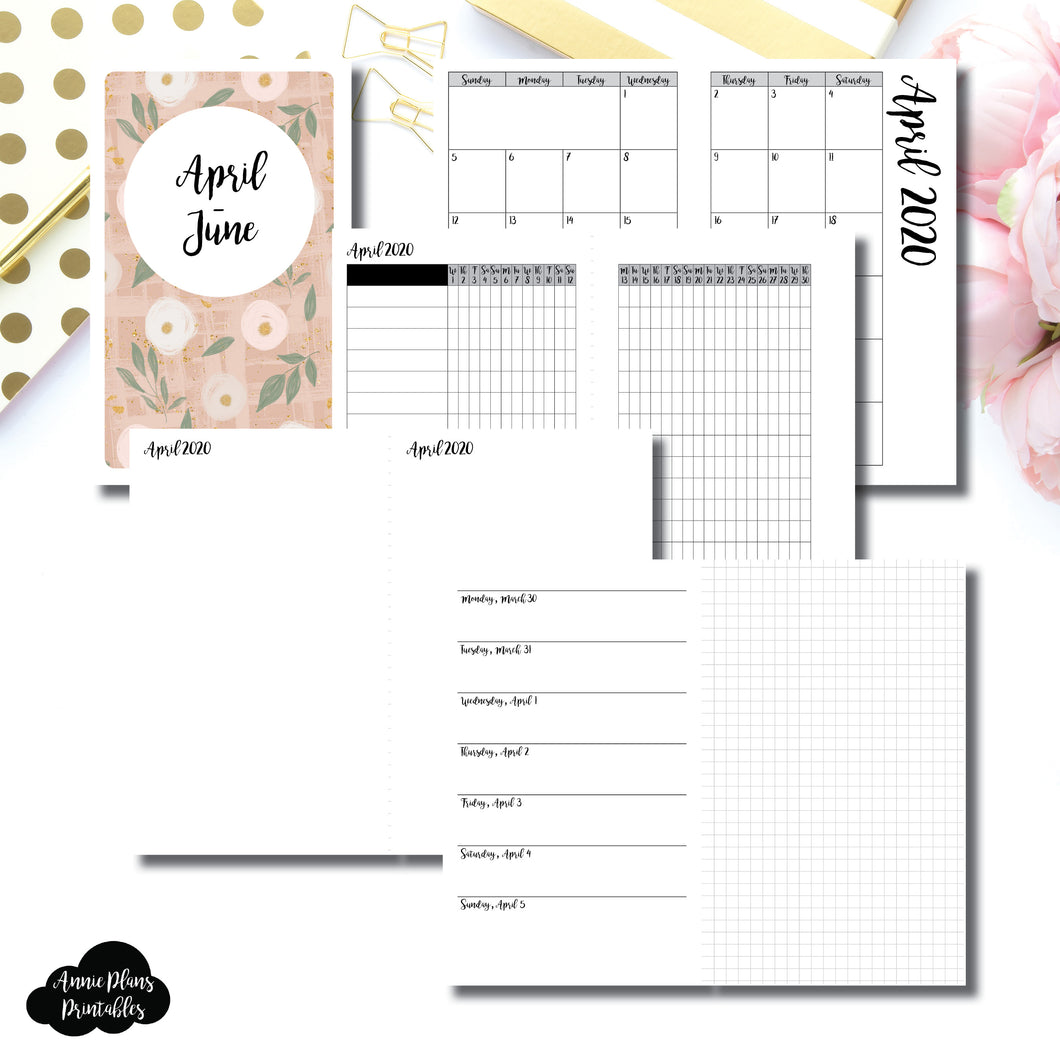 B6 Slim TN Size | APR - JUN 2020 | Horizontal Week on 1 Page + GRID (Monday Start) Printable Insert ©