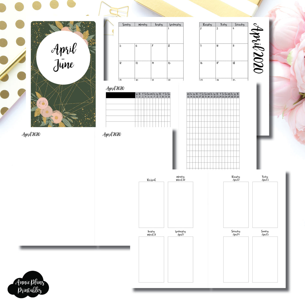 Mini HP Size | APR - JUN 2020 | Vertical Week on 2 Page (Monday Start) Printable Insert ©