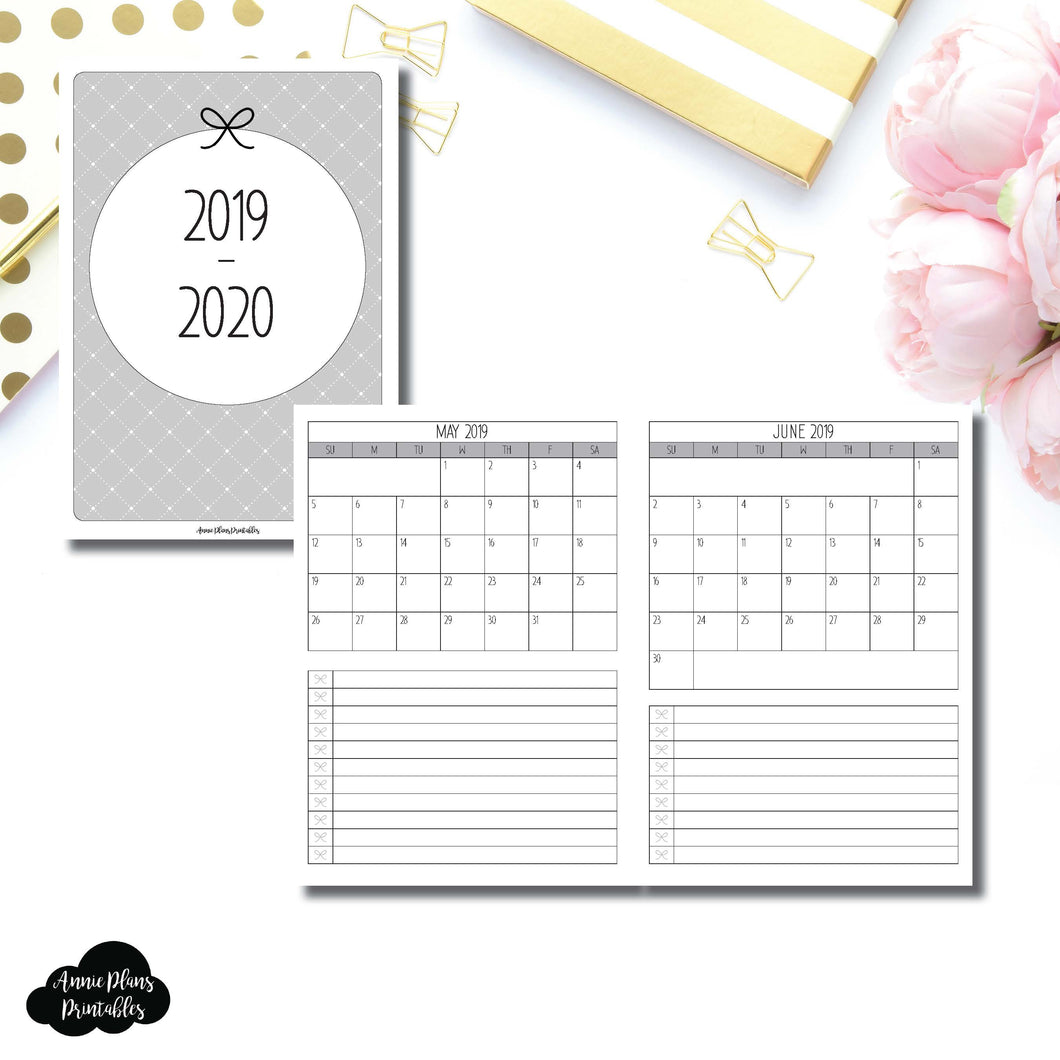 B6 Rings Size | 2019 - 2020 Single Page Monthly Printable Insert ©