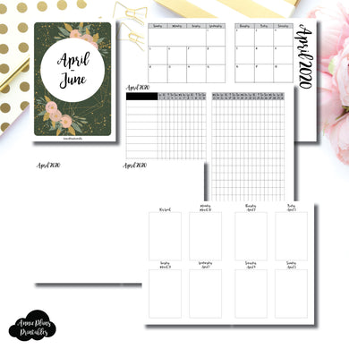 A6 TN Size | APR - JUN 2020 | Vertical Week on 2 Page (Monday Start) Printable Insert ©