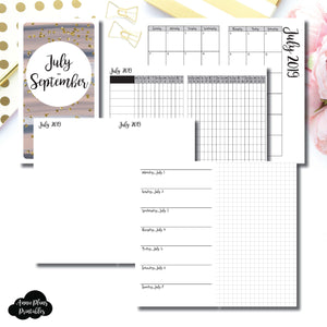 Personal TN Size | JUL - SEP 2019 | Horizontal Week on 1 Page + GRID (Monday Start) Printable Insert ©