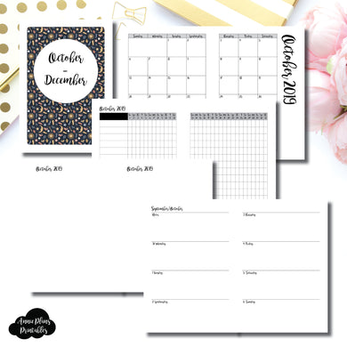 A5 RINGS Size | OCT - DEC 2019 | Week on 2 Page (Monday Start) Horizontal Layout | Printable Insert ©
