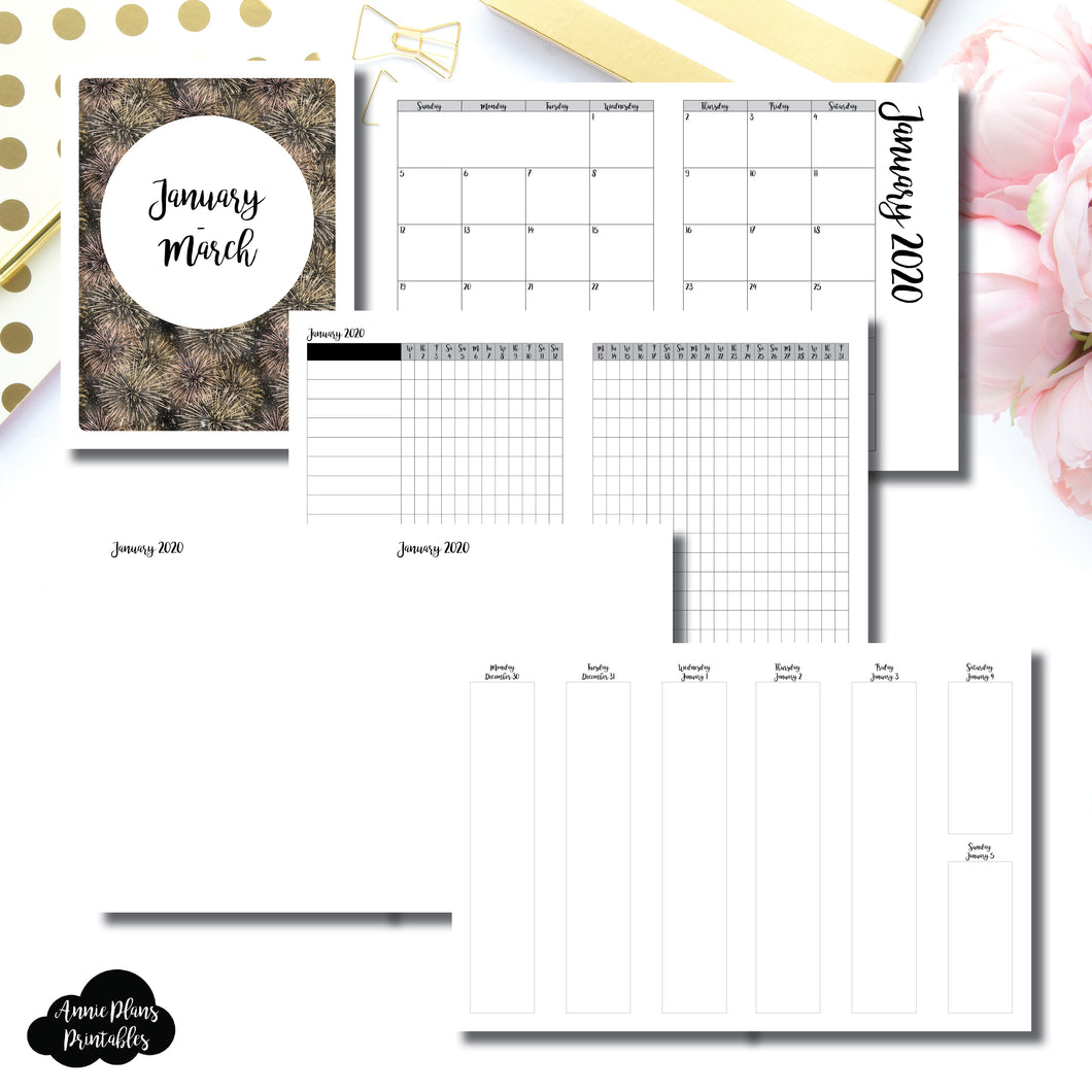 CLASSIC HP Size | JAN - MAR  2020 | Vertical Week on 2 Page (Monday Start) Printable Insert ©
