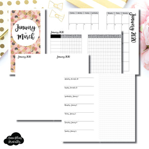 Personal Rings Size | JAN - MAR 2020 | Horizontal Week on 1 Page + GRID (Monday Start) Printable Insert ©