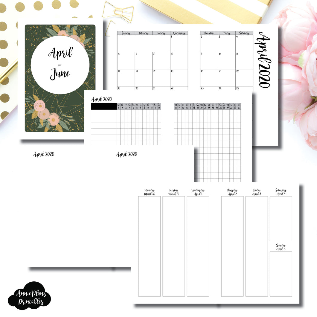 A5 Rings Size | APR - JUN  2020 | Vertical Week on 2 Page (Monday Start) Printable Insert ©